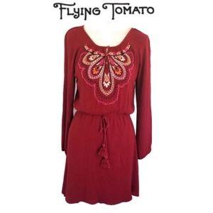 Flying Tomato Red Bohemian Mini Dress Size S